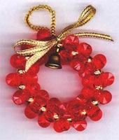 Beaded Ornaments / Tree Decorations - Starflake Christmas Wreath (Red)