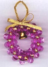 Beaded Ornaments / Tree Decorations - Starflake Christmas Wreath (Lt Amethyst)