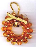 Beaded Ornaments / Tree Decorations - Starflake Christmas Wreath (Sungold)