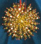 Beaded Ornaments / Tree Decorations - LARGE Crystal Satellite Ball - GoldRed