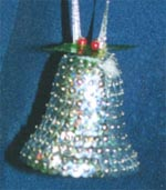 Beaded Ornaments / Tree Decorations - Sequin Christmas Bell (Silver Laser Sequins)