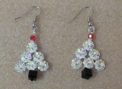 Swarovski Tree Earrings-Woven-Small-Emerald