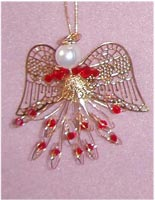Beaded Ornaments / Tree Decorations - Swarovski Bicone Angel Kit - Red & Gold