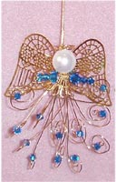 Beaded Ornaments / Tree Decorations - Swarovski Bicone Angel Kit - Blue & Gold