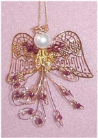 Beaded Ornaments / Tree Decorations - Swarovski Bicone Angel Kit - Purple & Gold