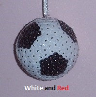 Sequin Soccer Ball - White & Red