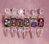 Examples of completed Hangers. Makes 1 drop only, includes Crystal Drop, Miyuki Delica Beads and Thr