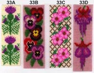 Bookmark Kit - makes 1 bookmark (Pansies - 33B as per the illustration - pattern includes all 4 desi