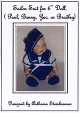 "Sailor Suit for 6"" Doll (Crochet / Bead Knitted Pattern)"