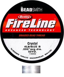 "Fireline Braided Beading Thread - Size B - 4 lb - 0.006"" - Crystal (45 m spool)"