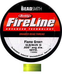"Fireline Braided Beading Thread - Size D - 6 lb - 0.008"" - Green (45 m spool)"
