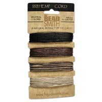 Natural Hemp Cord - Dyed Colours - 4-colour card - 4 x 12 m each - Neutral Colours