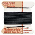 Bead Thread - Naturseide - 100 % silk - Black - Size 0 (0.30 mm) - 2 m card with needle attached