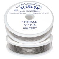 "Tiger Tail (Nylon Coated Beading Wire) - 3-strand nickel-colour - 0.015"" - 30 m reel"