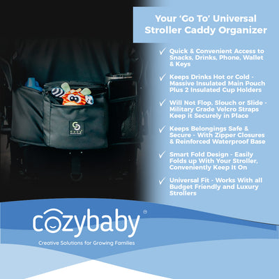 Cozy Stroller Caddy Organizer (Black, Insulated)