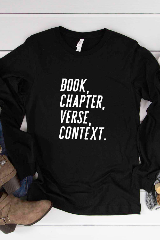 """Book, Chapter, Verse, Context"" Long Sleeve Tee"