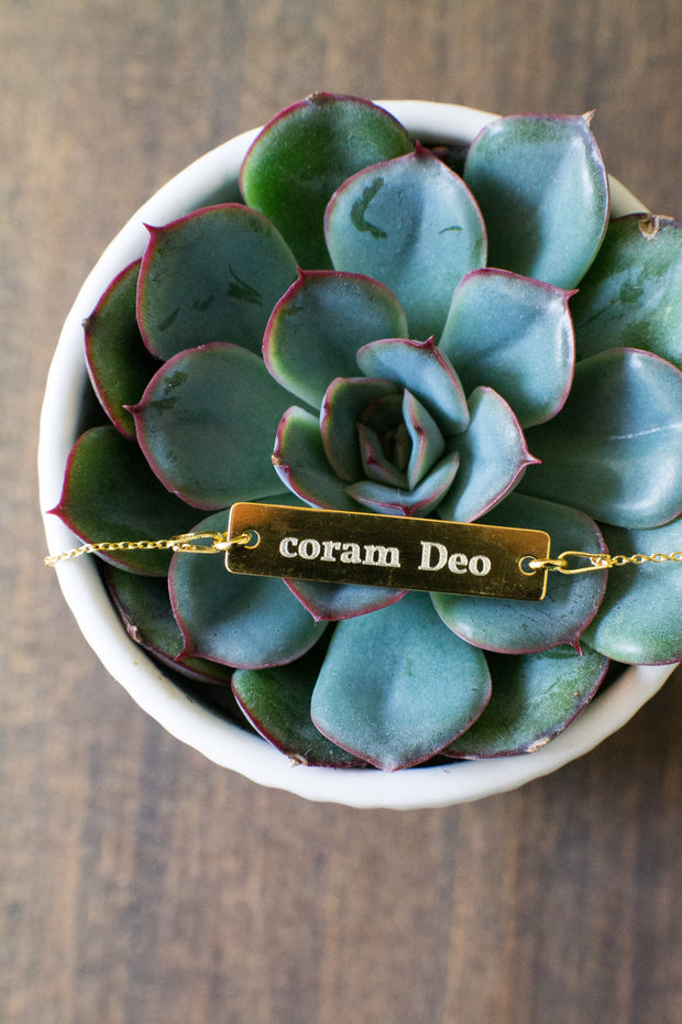 """Coram Deo"" Bar Necklace"