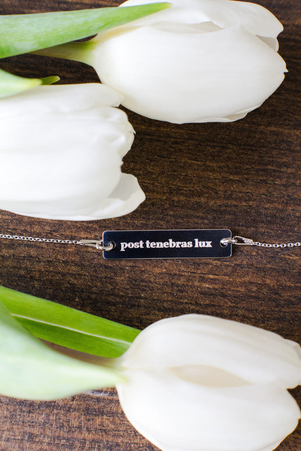 """Post Tenebras Lux"" Bar Necklace"