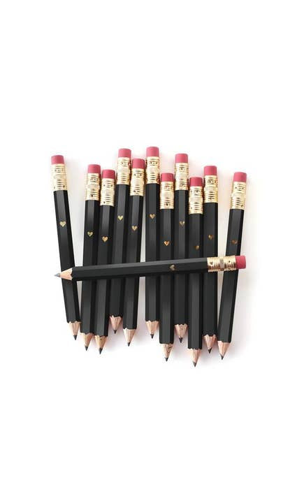 Mini Gold Heart - Black Mini Pencils