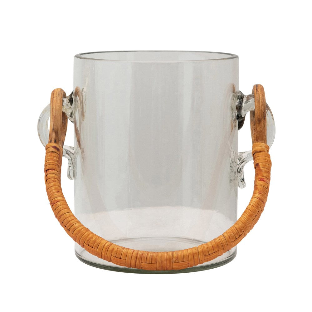 Quart Glass Ice Bucket with Bamboo Wrapped Handle