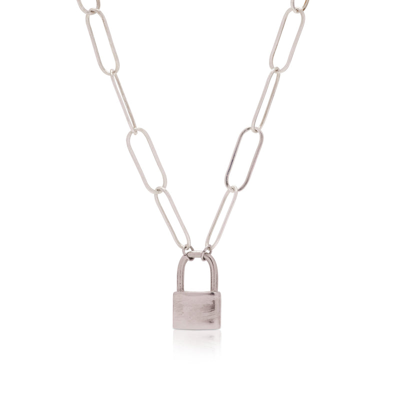 Silver Luca Destiny Lock Necklace