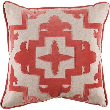"Sultana Coral Velvet Applique Pillow with Insert - 22"" x 22"""
