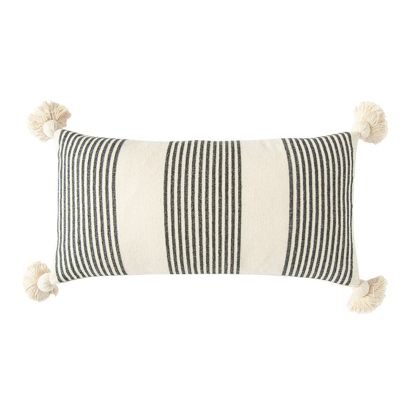 "28""L x 14""H Woven Striped Lumbar Pillow with Tassels"