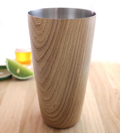 Cocktail Shaker Tin with Wood Finish - 28 ounce