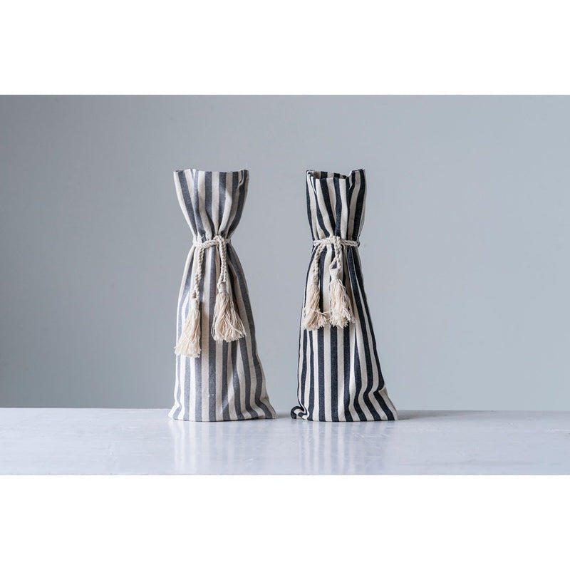 Cotton Striped Wine Bag - Black Stripe