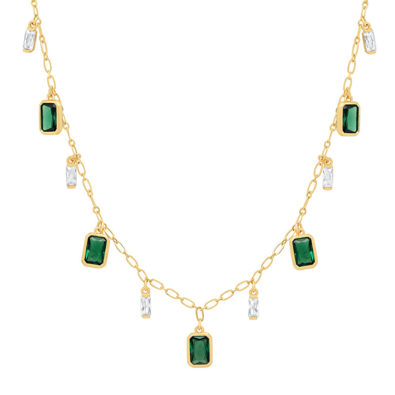 Emerald & Clear Charm Necklace