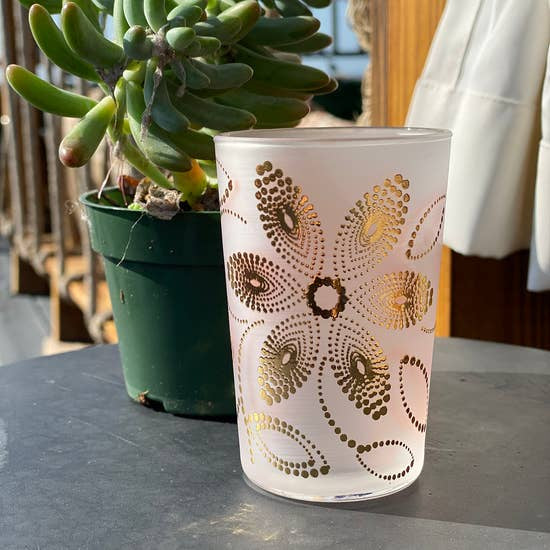 Moroccan Tea Glass - Frosted Gold Flower