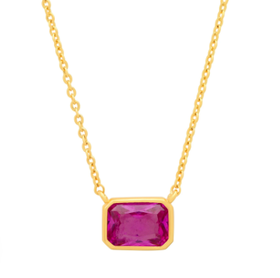 Bezel Set Emerald Cut Pendant Necklace - Pink