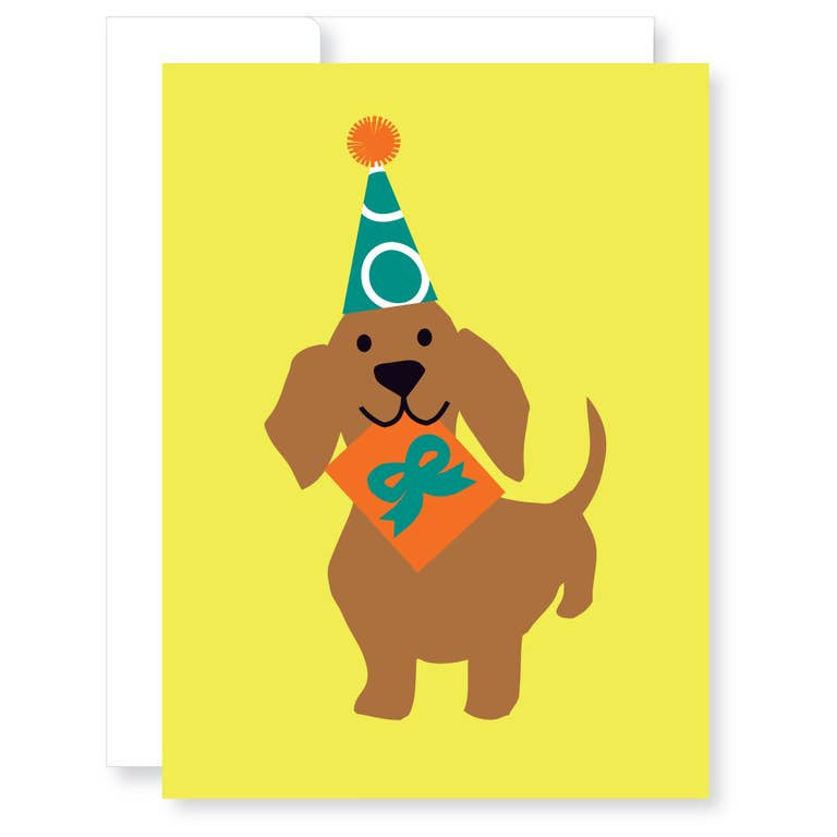 Gift Giving Dachshund Card