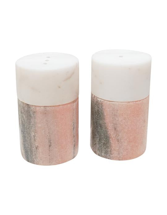 Pink Marble Salt + Pepper Shakers