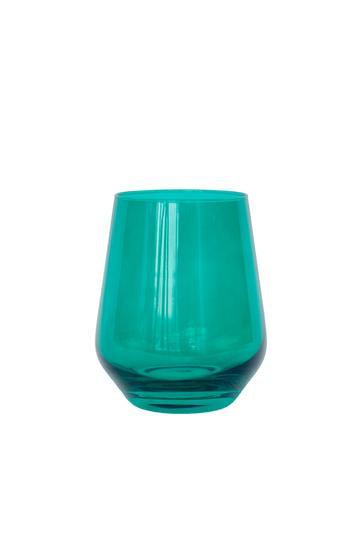 Colored Stemless Wine Glass - Emerald Green