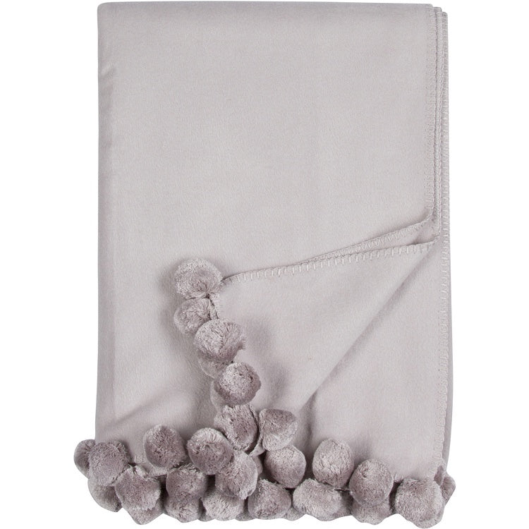 Dove Grey Pom Pom Throw