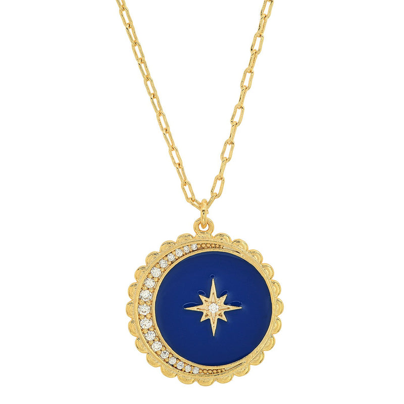 Star & Moon Starburst Coin Pendant Necklace