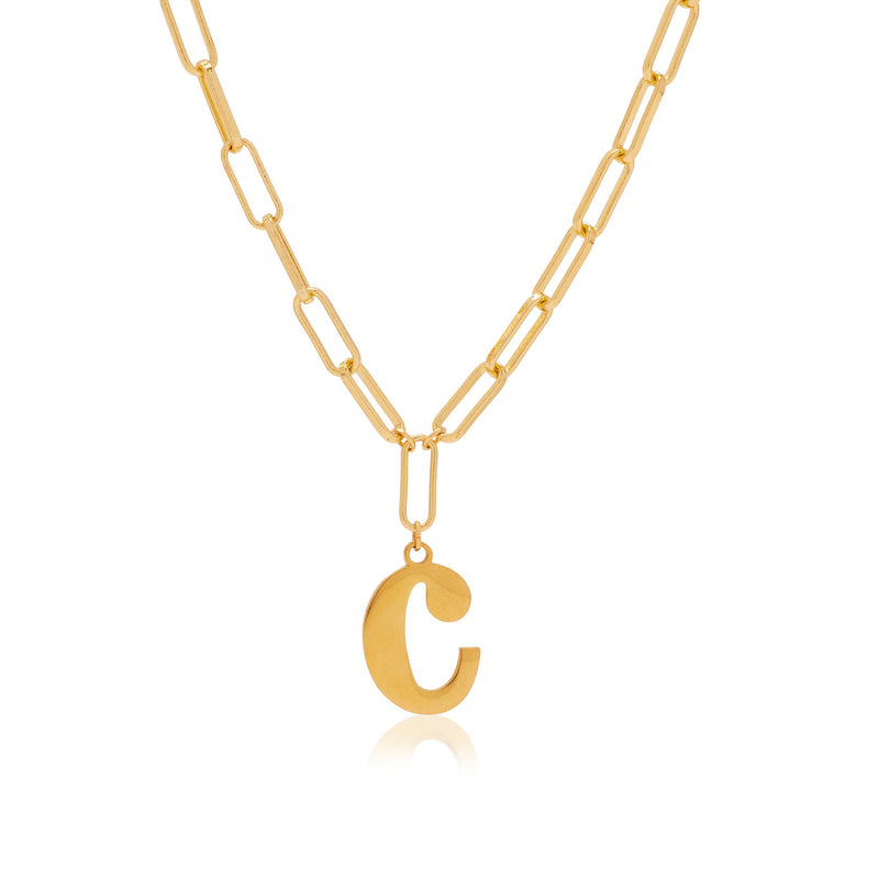 Gold Love Letter R Necklace
