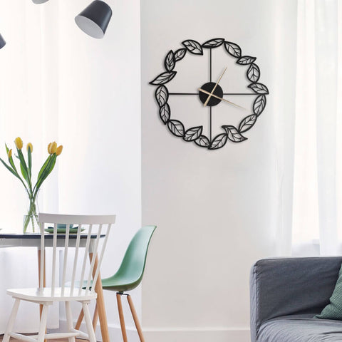 leaves metal wall clock for living room