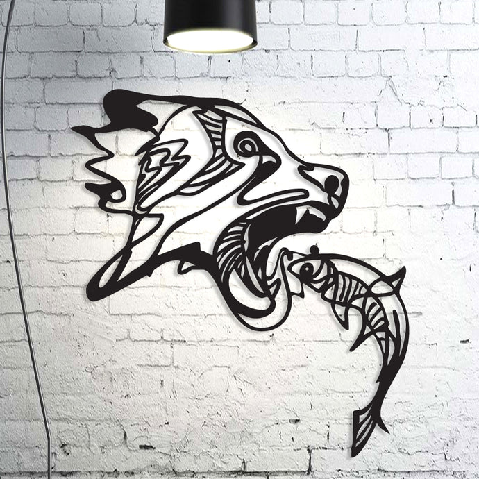 Bear Fish Metal Wall Art Decor
