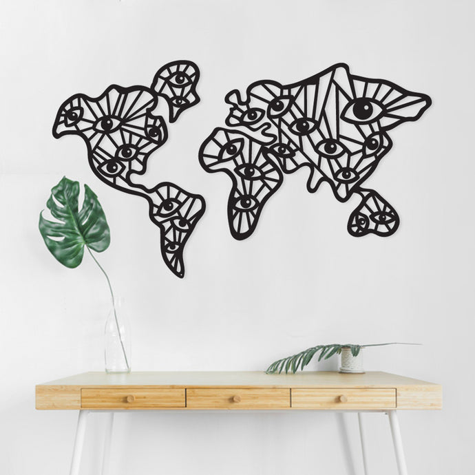 Black Eyes World Metal Wall Decor
