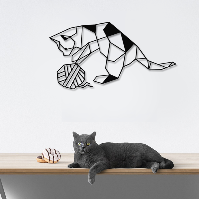 Cat & Rope Metal Wall Decor