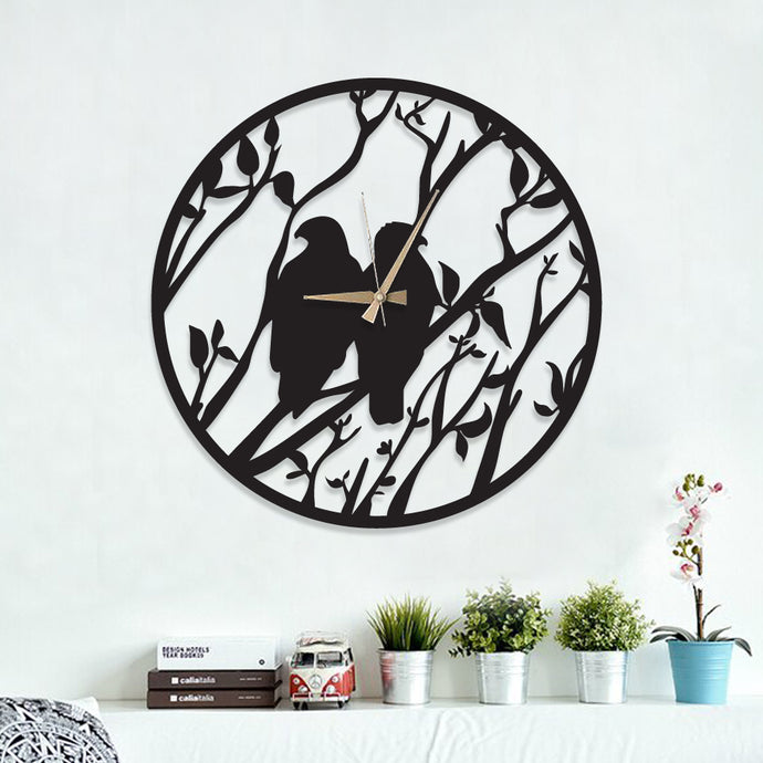 Double Birds Metal Wall Clock
