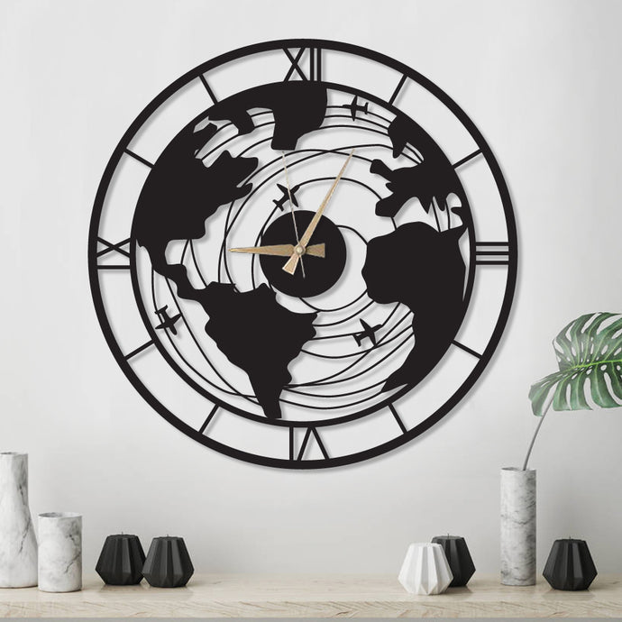 Plane World Decorative Metal Wall Clock