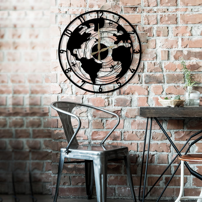Plane World Clock with Numbers Metal Wall Art