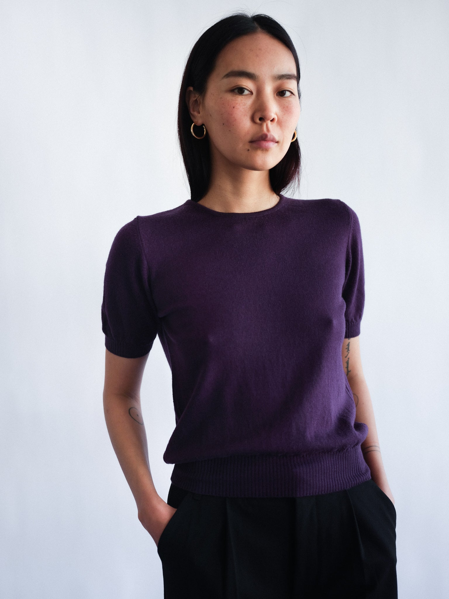 Merino wool round neck sweater