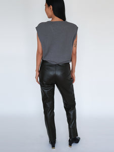Vintage brown leather straight-leg pants