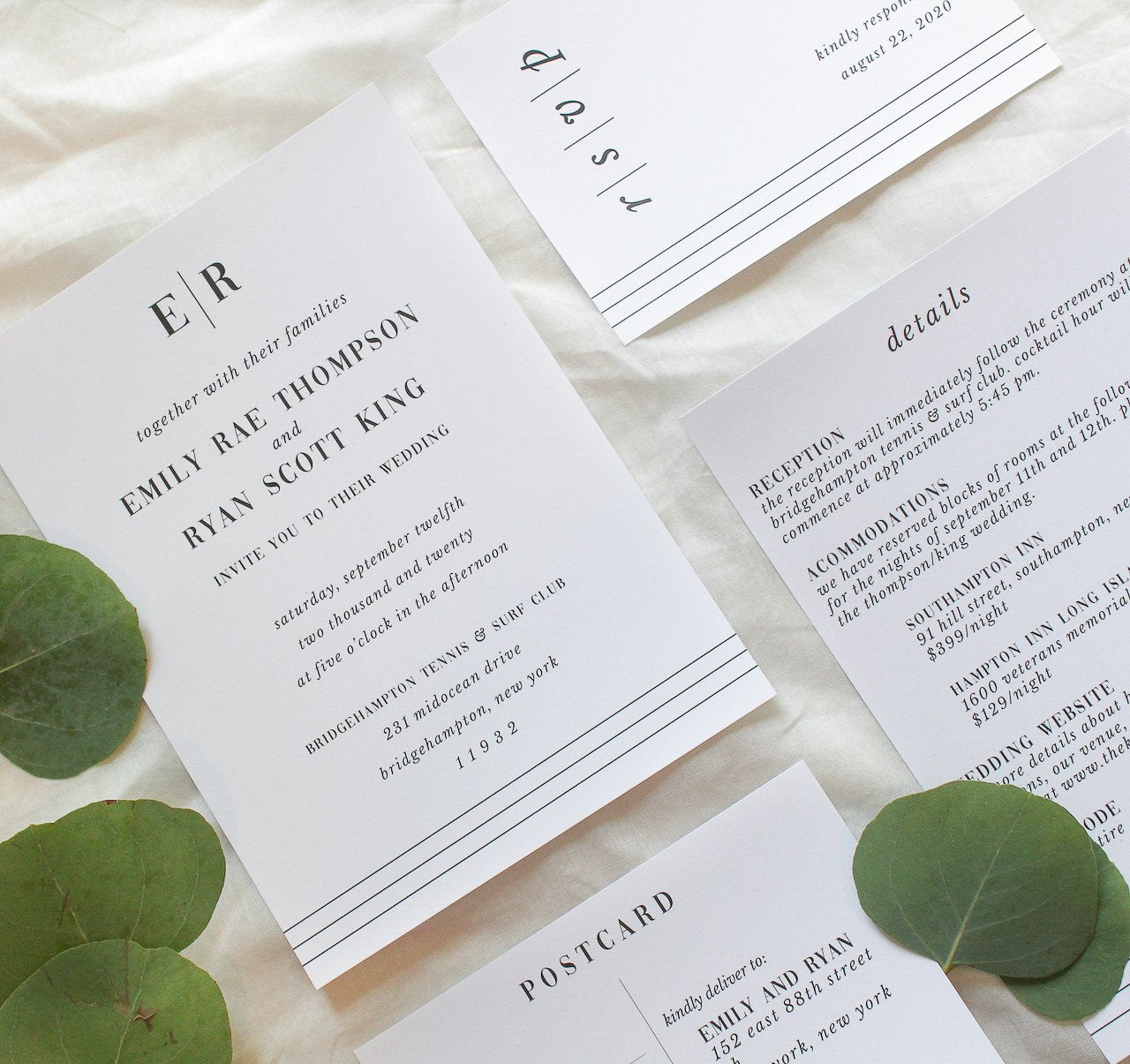 preppy nautical wedding invitations sustainably printed on 100% recycled paper