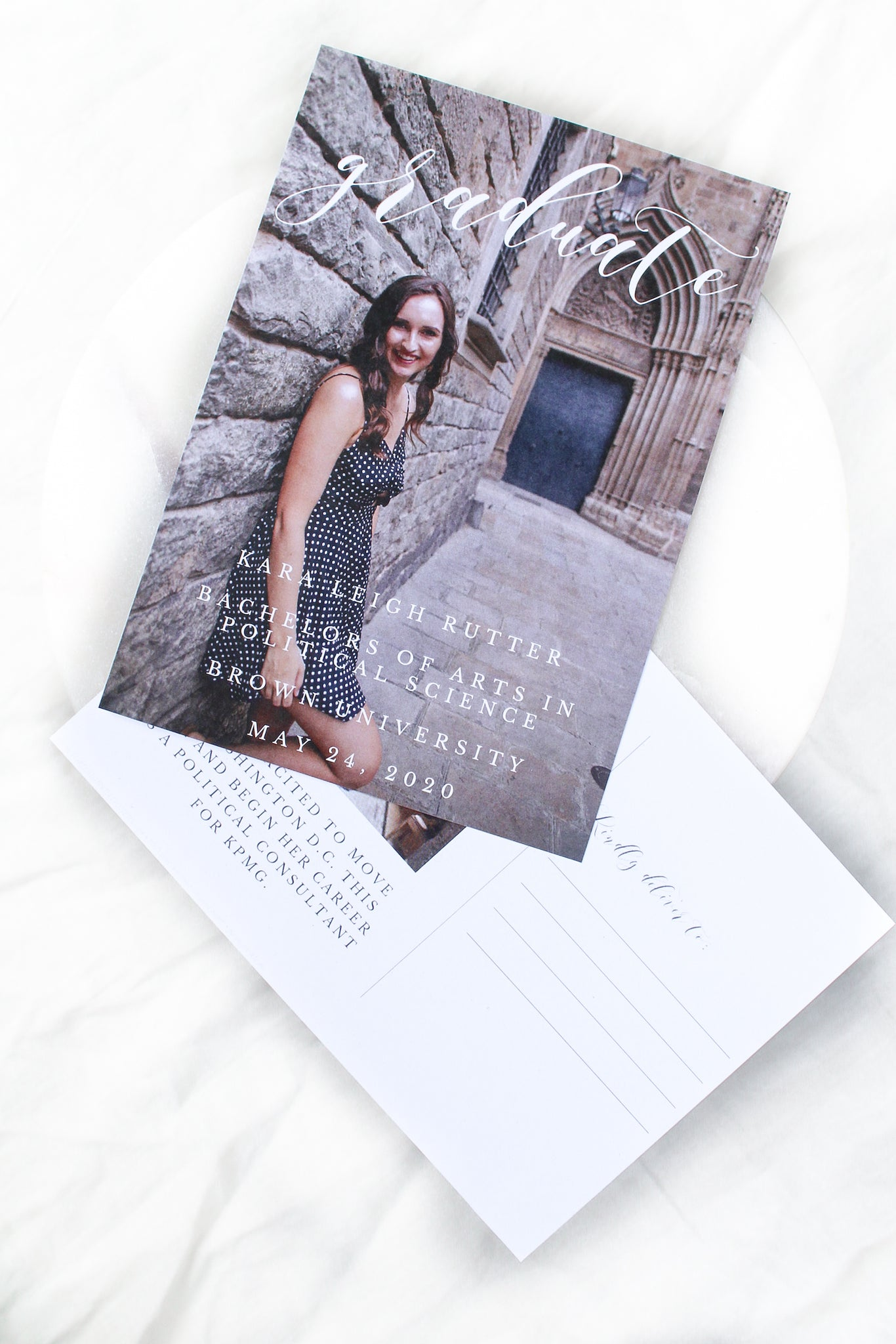 whimsical, rustic graduation announcement photo postcards sustainably printed on 100% recycled paper