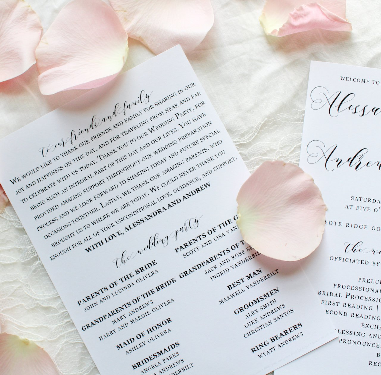 whimsical rustic paddle fan wedding programs sustainably printed on 100% recycled paper